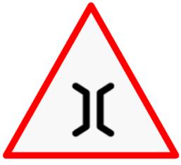 Narrow bridge sign