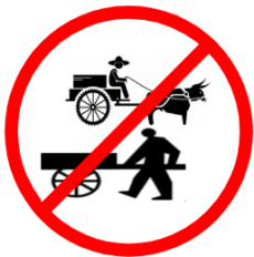 "Mandatory or Regulatory road  Signs or traffic signs - Bullock and Hand Cart Prohibited || symbolic image of ""Bullock and Hand Cart Prohibited"" Sign"