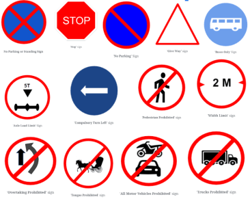 38 Mandatory or Regulatory Signs or Prohibited signs - Traffic signs or Road signs