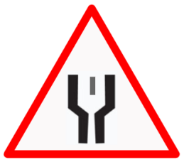 "Cautionary or Warning road  Signs or traffic signs - Start of Dual Carriageway || symbolic image of ""Start of Dual Carriageway"" Sign"