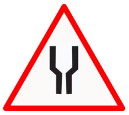 "Cautionary or Warning road  Signs or traffic signs -  Road widens Ahead  || symbolic image of ""Road widens Ahead"" Sign"