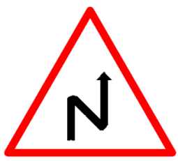 "Cautionary or Warning road  Signs or traffic signs - Left Reverse Bend || symbolic image of ""Left Reverse Bend"" Sign"