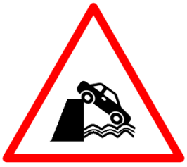 "Cautionary or Warning road  Signs or traffic signs - Quayside or River Bank || symbolic image of ""Quayside or River Bank"" Sign"