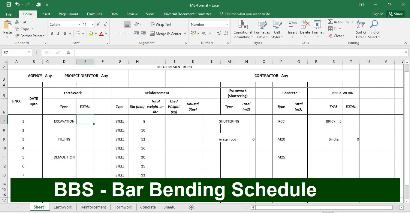 How to make BBS in Excel Sheet- Download Sample file of BBS