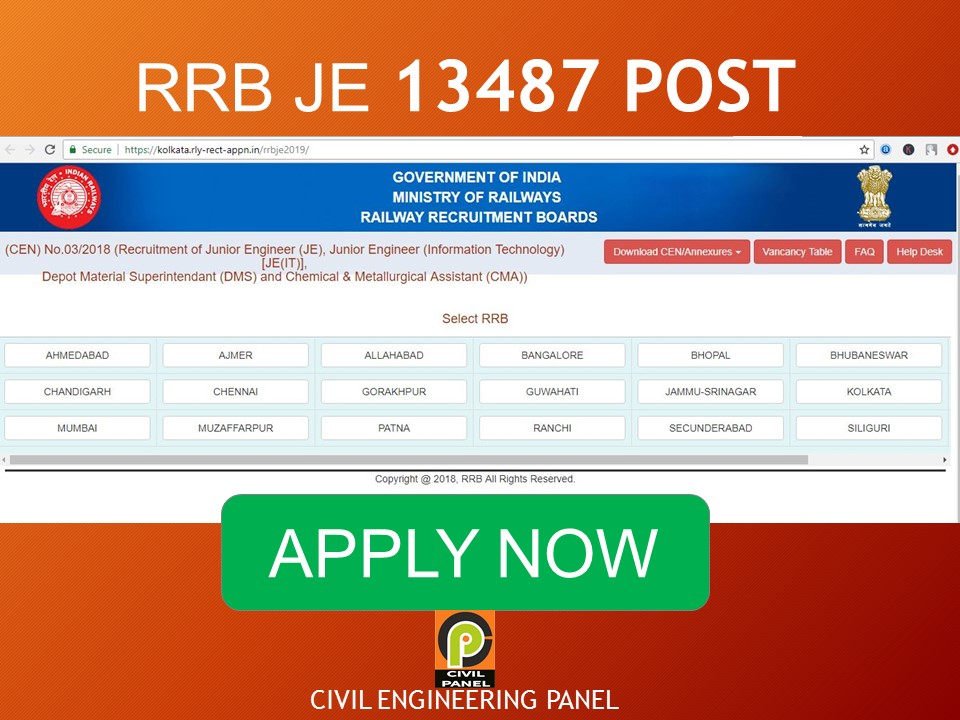 RRB JE RAILWAY RECRUITMENT 2019 CIVIL ENGINEERING PANEL