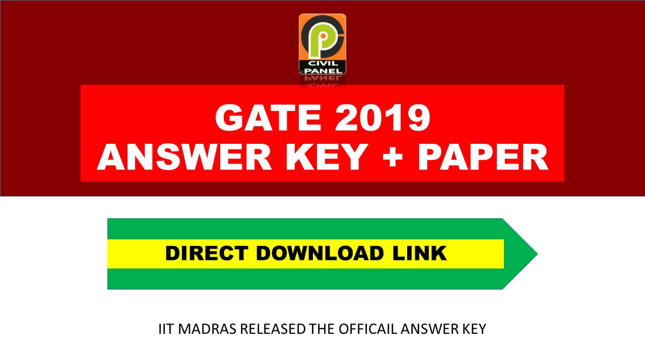 GATE 2019 ANSWER KEY OFFICIAL DOWNLOAD PDF