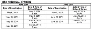 csc comex schedule 2014