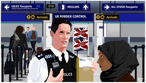 A white policeman and a Muslim woman at UK Border Control