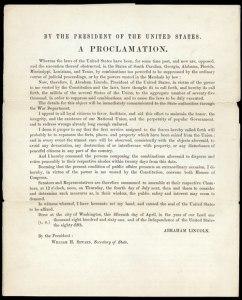 Lincoln's Militia Proclamation | Photo Credit: VisitTheCapitol.gov