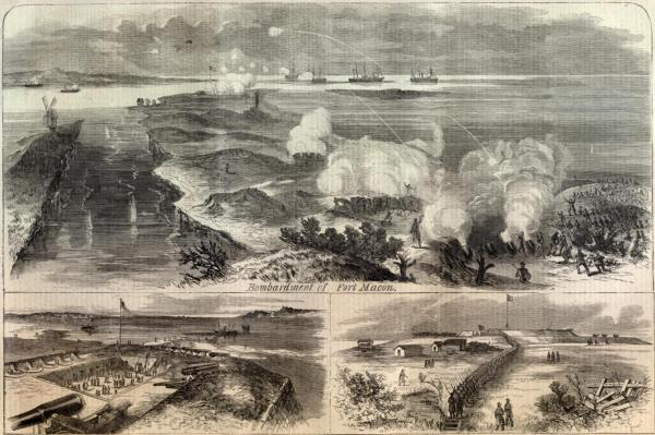 Federal attack on Fort Macon | Image Credit: CivilWarDailyGazette.com