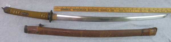 Long curve sword with scabbard