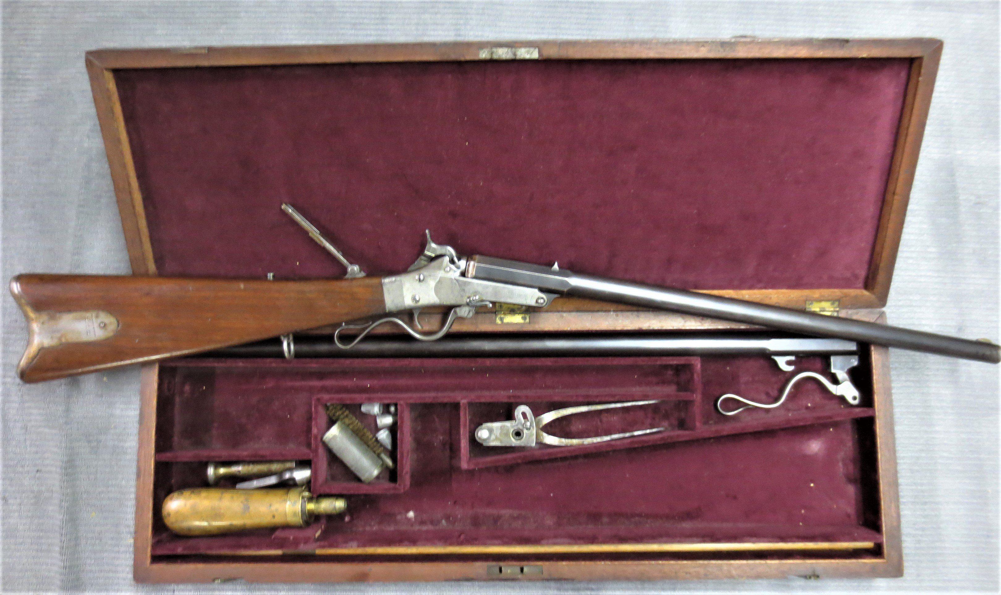 RARE cased Civil War 1st Model Maynard Carbine, Confederate serial number  range