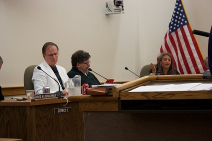 Catherine Emmanuelle during a city council meeting with city council people Tim Tewalt and Eric Larsen
