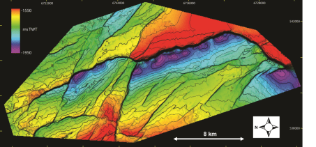 Time-structure map of a Late Jurassic-Early Cretaceous normal fault network, Horda Platform, Norwegian North Sea (see Duffy et al., 2015).