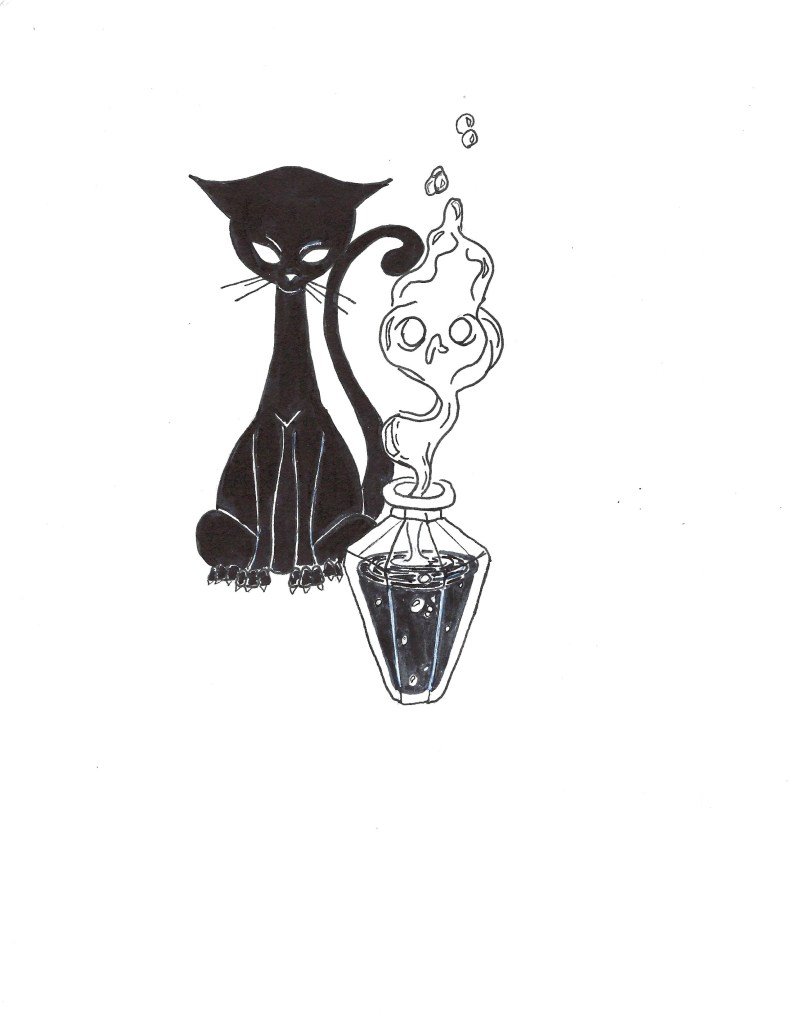 Wish Chapter Art: A Black Cat With a Smoking Vial of Potion