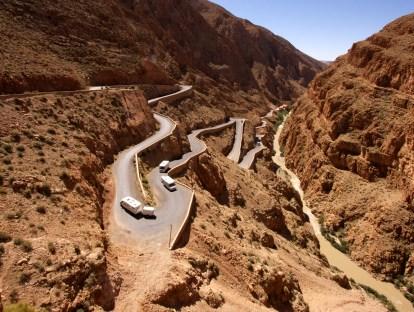 The curvy road through Dades Gorge.