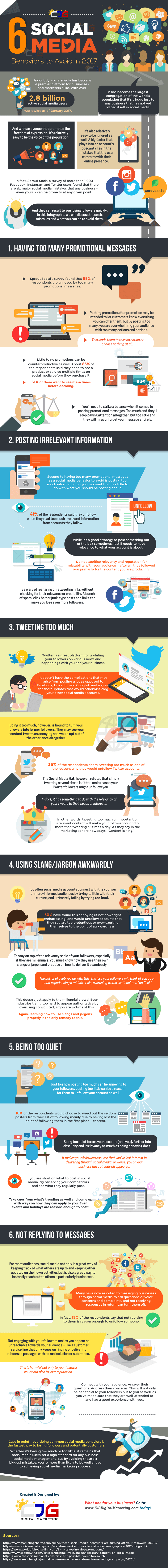 6 Social Media Behaviors to Avoid in 2017 (Infographic) - An Infographic from CJG Digital Marketing