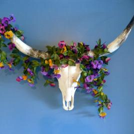 Long Horn Cow Skull and Floral Swag
