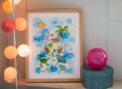 watercolor art children illustration tropic tropical ocean sea turtle stingray flamingo chameleon palm tree sun fish jelly fish