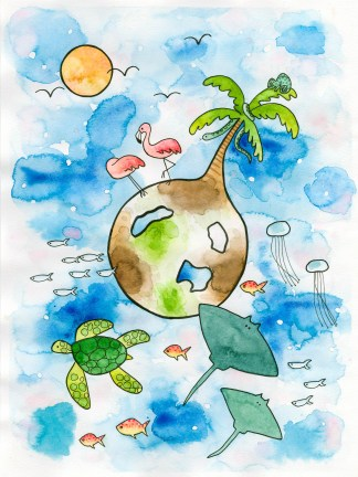 watercolor art chrildren illustration tropic tropical fish flamingo sea turtle jelly fish stingray chameleon sun palm tree