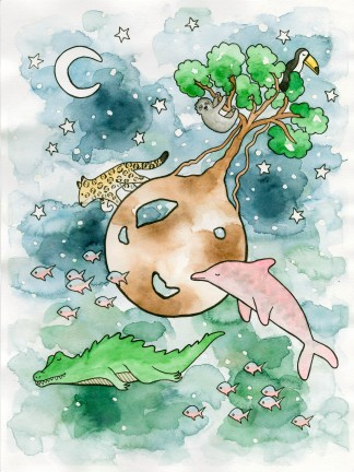 Watercolor illustration children art amazonas rainforest crocodile pink dolphin leopard piranha toucan sloth night moon stars
