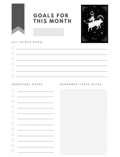 image of interior goals page of planner