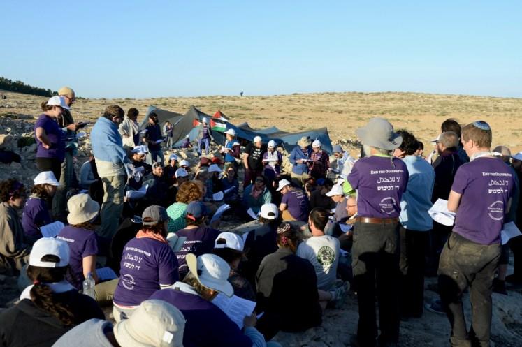 Friday evening Shabbos prayer in Sumud: Freedom Camp
