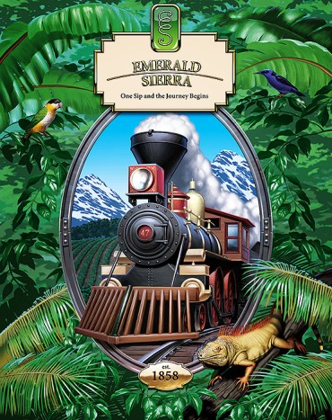 Digital art, poster promo for Emerald Sierra Coffee. Image of steam locomotive in center oval medallion, surounded by jungle foliage.