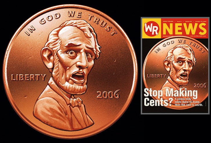 Illustration of a penny coin, Abraham Lincoln has expression of fearful surprise