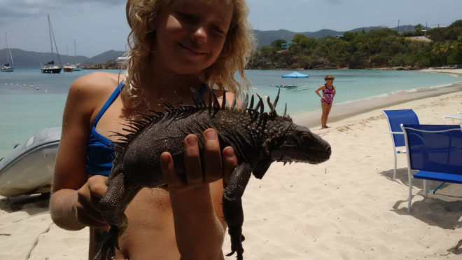 Island girl. She had an almost hypnotic way with the wildlife around here. Because of her I got to pet an iguana. :-)