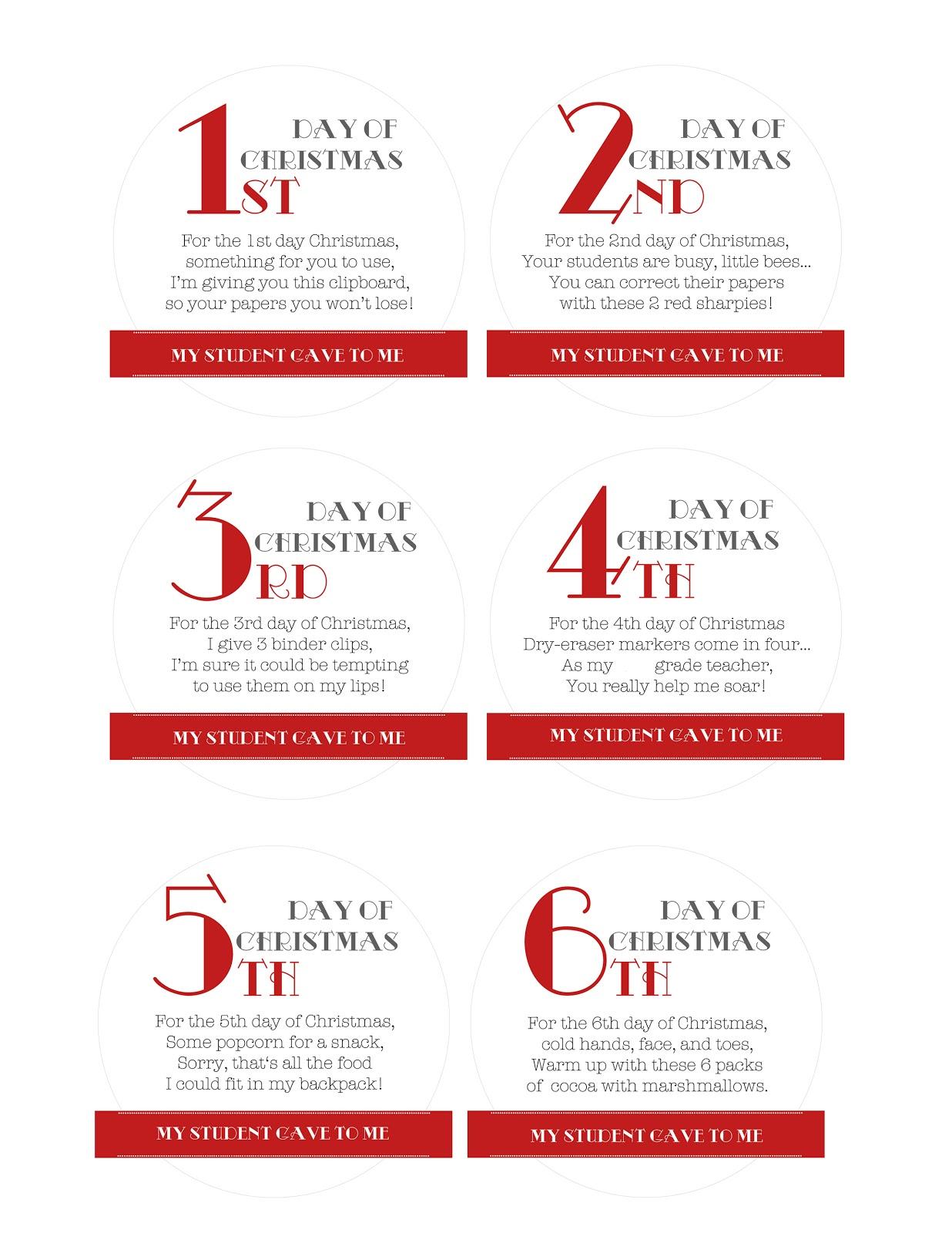 12 Days Of Christmas Ts Ideas For Teachers