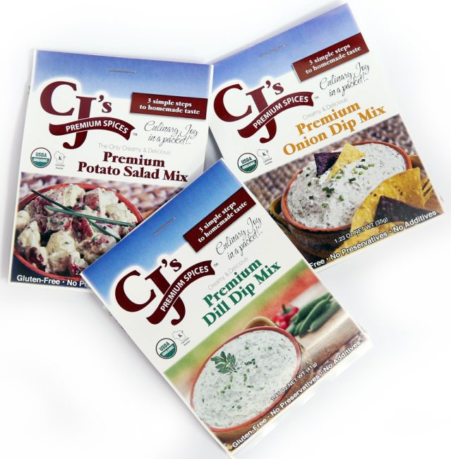 organic dips, organic potato salad, best dips, CJ's Premium Spices, gluten free, organic, kosher, delicious, easy to prepare