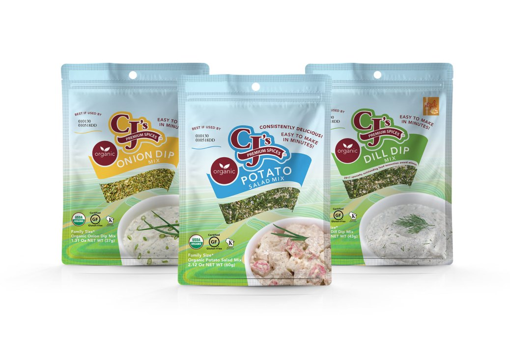 Delicious Gluten Free Products, Gluten-Free certification by GFCO, CJ's Premium Spices debuts new packaging, gluten-free certified Organic Spice Blends, CJ's Organic Spice Blends, Organic Potato Salad Mix, Organic Dill Dip Mix, Organic Onion Dip Mix, gluten-free by GFCO, GFCO, delicious, clean label ingredients, craft blended, kosher