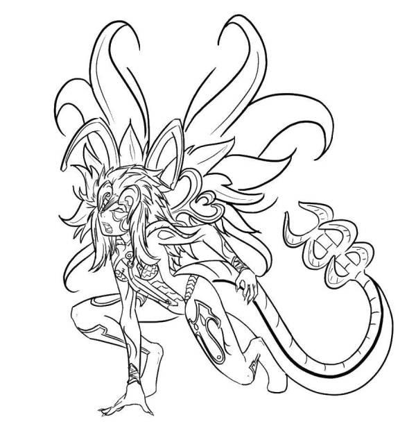 Раскраски скорпион, Раскраска Девушка скорпион Фэнтези.