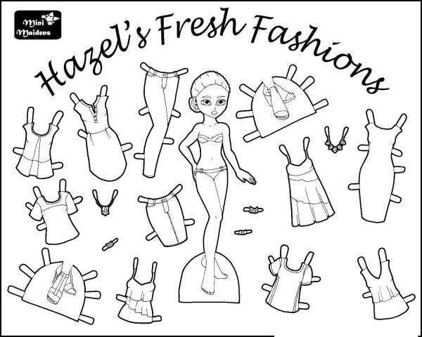 Раскраски одеждой, Раскраска Кукла с одеждой игрушка.