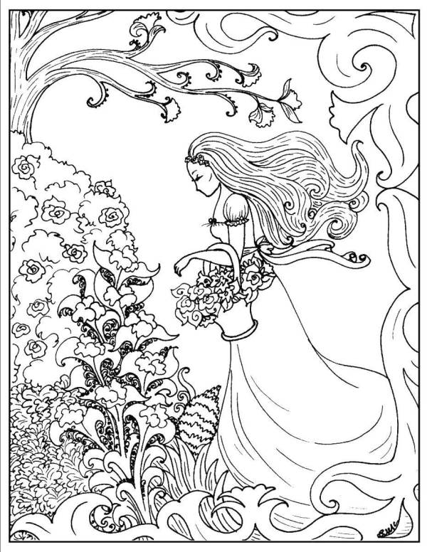 Раскраски сова, Раскраска Девушка в розах и сова девушка.