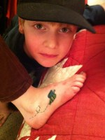 A copy of Becky's tattoo of a flying bumblebee - Becky is the boy's sister-in-law.