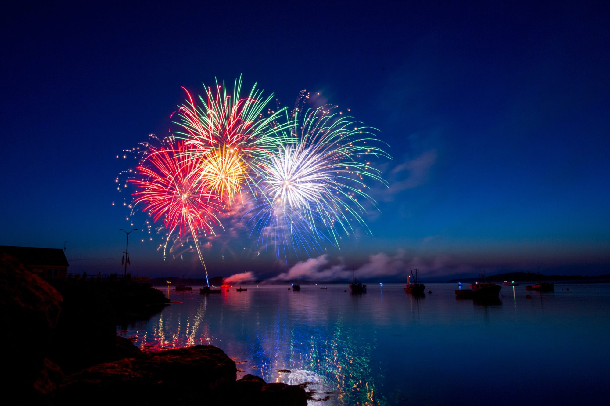 Image of Fireworks on night sky viewed from a safe distance
