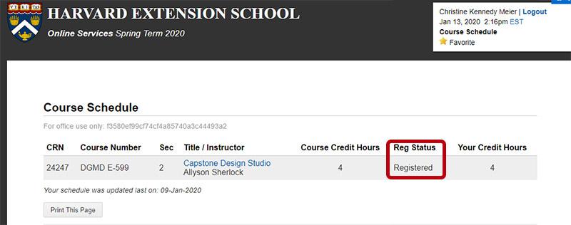 Screen shot from my Harvard Account.