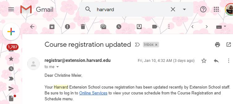 Screenshot of an email regarding course registration.