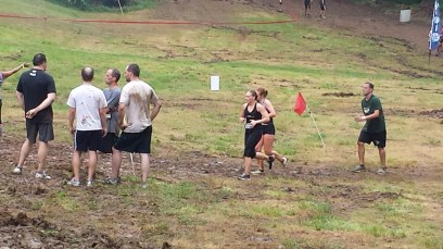 Running strong and eyeballing the mud pit.