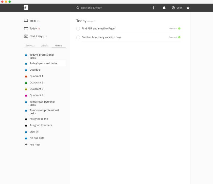 screenshot of Todoist for Mac