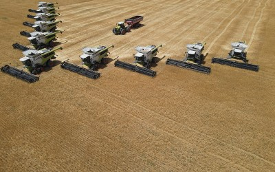 10 Claas Lexions of type 7400 and 1 Xerion in the Field in Colorado.