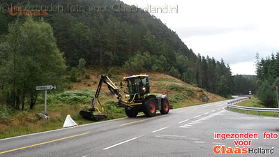 Claas Xerion by the roadside in Norway.