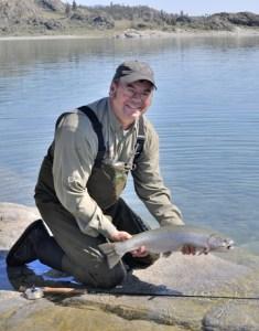 Daiichi Pro Staffer, Joe Warren ready to release a nice Lahontan cutthroat trout from Omak Lake, WA.