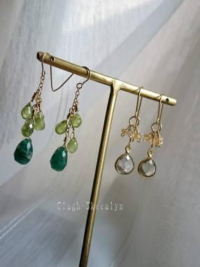 委託販売ピアスです。癒しの色彩、グリーン系の天然石を使って制作しました。