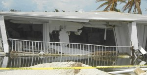 House damaged by hurricane Irma in the Florida keys