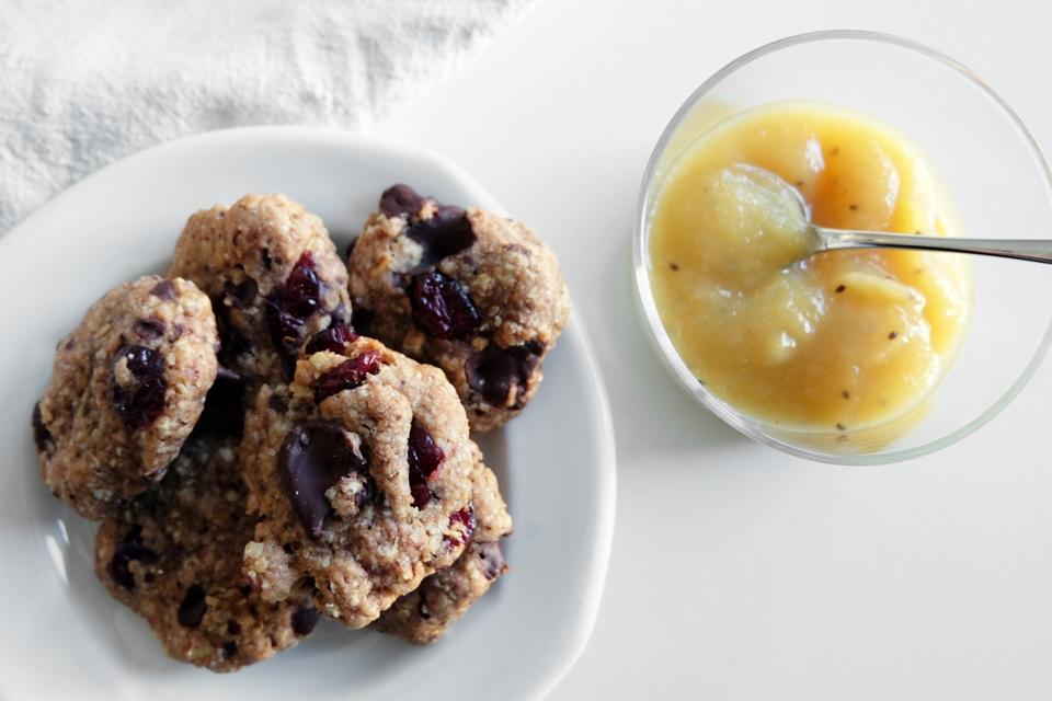 Les cookies moelleux accompagnées d'une compote maison