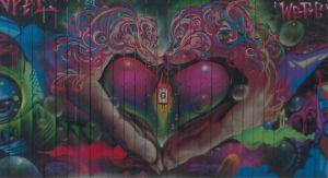 vibrant heart street art