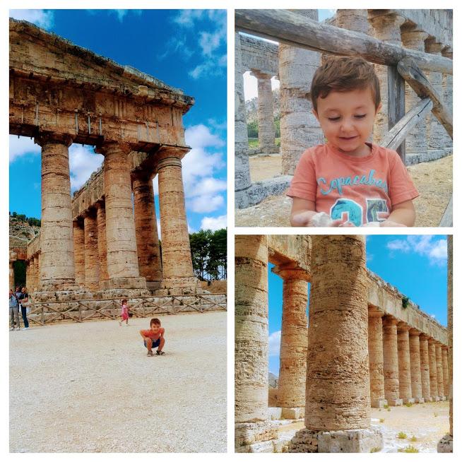 bambino ai templi di Segesta in Sicilia